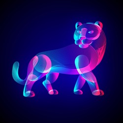 Tiger silhouette. Outline vector illustration of standing tigress - symbol of the year in the Chinese zodiac calendar. Stylized wild animal in 3d line art style on glowing neon abstract background