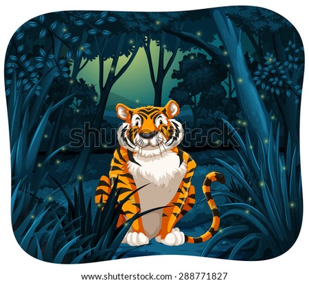 tiger sitting with flireflies
