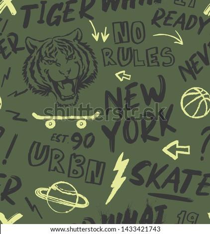 tiger, skate pattern vector illustration