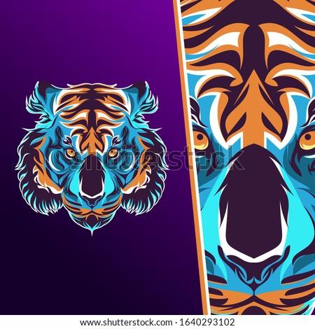 Tiger sport mascot logo. Tiger head vector for esport gaming, tiger angry esport, esport logo.