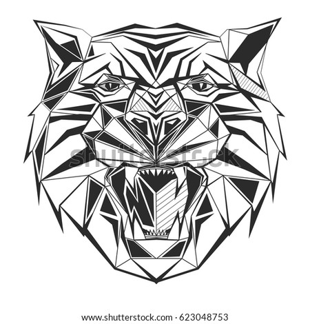 tiger stylized triangle
