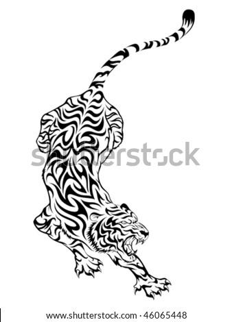 japanese tiger tattoos. stock vector : Tiger Tattoo 3