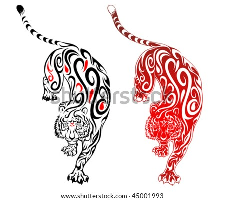 tattoo tiger. swirl tattoo. Tiger Tattoo