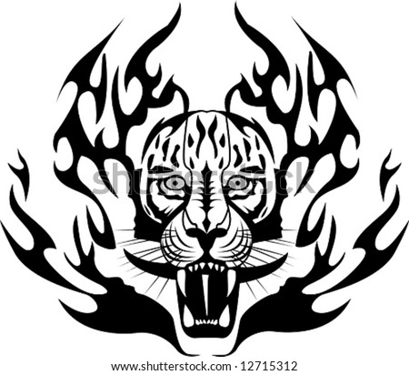 stock vector : Tiger Tattoo, vector illustration