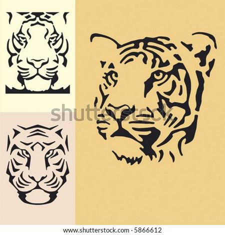 Tiger. Three snouts. Simple vector.
