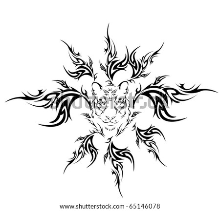 tiger tribal tattoo. stock vector : Tiger tribal