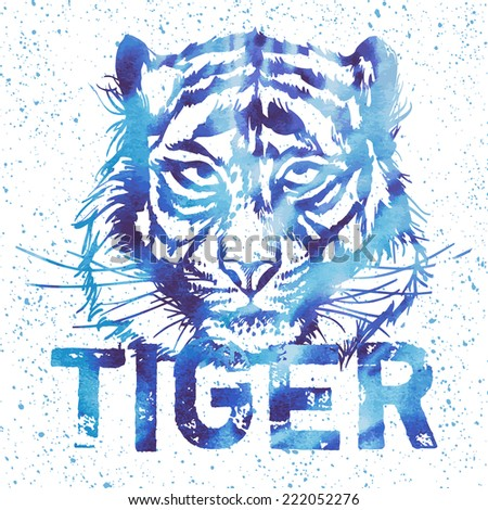 Tiger Vector print for sport t shirt