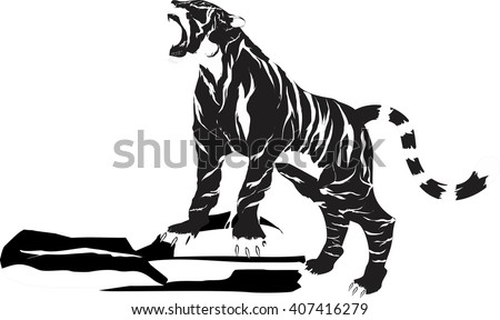 tiger vector single monochrome