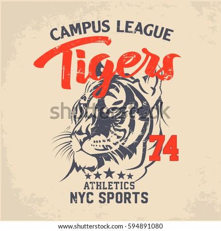 tiger vintage denim print for t