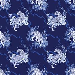 Tiger walking in Flower bush illustration doodle Porcelain with Color gradation Chinese brush Porcelain blue tone and indigo blue   background  seamless pattern vector for digital painting