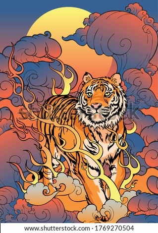 Tiger walking on fire thunder and storm cloud Oriental Japanese or Chinese   illustration style poster  background vector Foto stock ©
