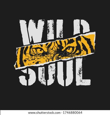Tiger. Wild  Roar Tiger. College Typography Graphic.