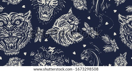 Tigers and black panthers seamless pattern. Old school tattoo art. Asian wild cats heads. Traditional tattooing, japan art style