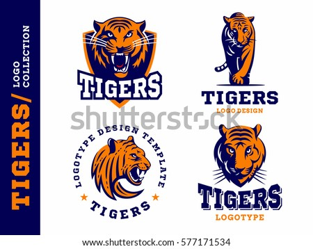 Tigers - logo, icon, illustration collection on white background