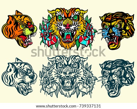 Tigers old school tattoo vector. Fashionable tigers heads and flowers roses set. Classic flash tattoo style, patches and stickers