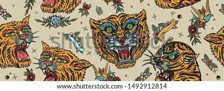 Tigers seamless pattern. Old school tattoo. Asian wild cats heads. Traditional tattooing, japan art style