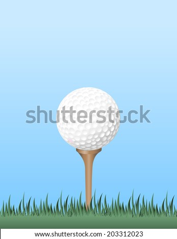 Tight ground level view point of a pink golf ball on the tee with blue sky behind