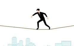 Tightrope walking businessman, image of business scene, isometric