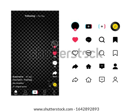 Tik Tok Screen interface and tik tok icons in social media application. Music and video app icons. Tik Tok Photo frame design app post template. Vector mock up illustration