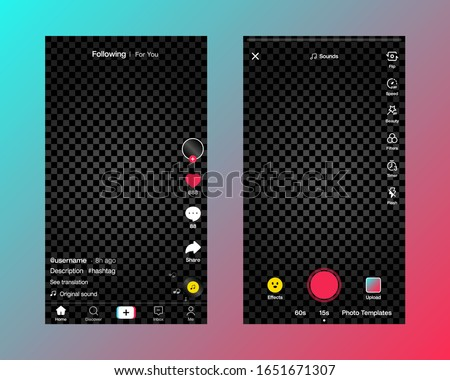 Tik Tok Screen interface in social media application. Tiktok Music and video app icons. Tik tok photo frame design app post template. Vector mock up illustration