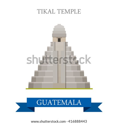 Tikal Temple in Guatemala. Flat cartoon style historic sight showplace attraction web site vector illustration. World countries cities vacation travel sightseeing Central America collection.
