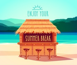 Tiki bar. Summer card / poster / template. Vector illustration.