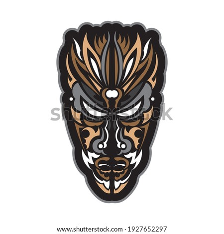 Tiki mask in Hawaiian style. Good for t-shirt prints, cups, phone cases and tattoos. Isolated. Vector illustration.