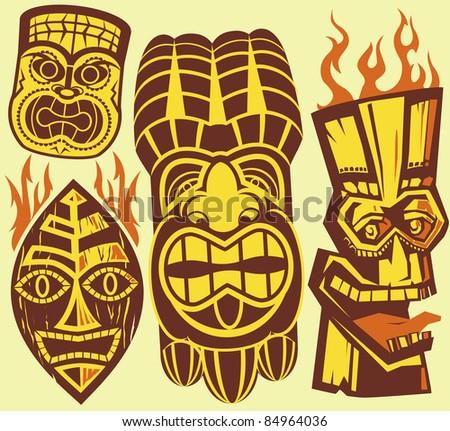 Bitmap on Tiki Masks Stock Vector 84964036   Shutterstock