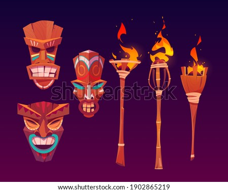 Tiki masks and burning torches, tribal wooden totems, hawaiian or polynesian attributes, scary faces with toothy mouth decorated with painting isolated on dark background. Cartoon vector icons set