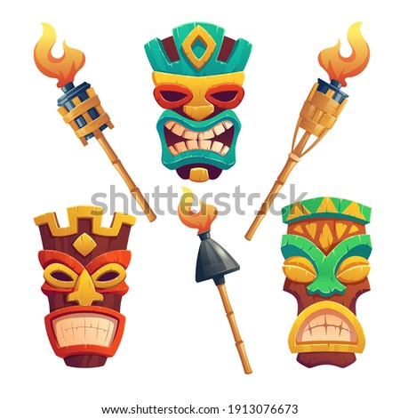 Tiki masks, hawaiian tribal totem and burning torches on bamboo stick. Vector cartoon set of polynesian traditional statues, ancient wooden god faces isolated on white background
