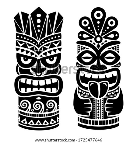 Tiki pole totem vector design - traditional statue decor set from Polynesia and Hawaii, tribal folk art background  Native Polynesian and Hawaiian two tiki illustration in black on white, gods faces