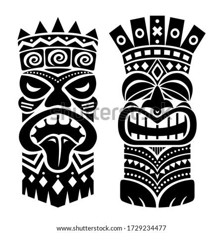 Tiki statue pole totem vector design - traditional decor set from Polynesia and Hawaii, tribal folk art background. Native Polynesian and Hawaiian two tiki illustration in black on white, gods faces w
