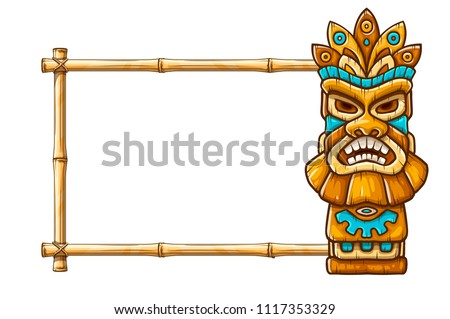 Tiki traditional hawaiian tribal mask with human face on bamboo frame with copyspace. Wooden totem symbol, god from ancient culture of Hawaii. Hand drawn in cartoon style, isolated on white.