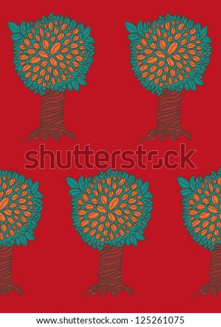 Tile able abstract red pattern coffee tree background
