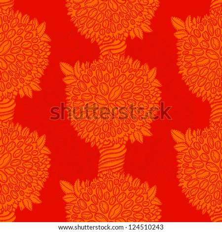 Tile-able  red pattern coffee tree with beans background