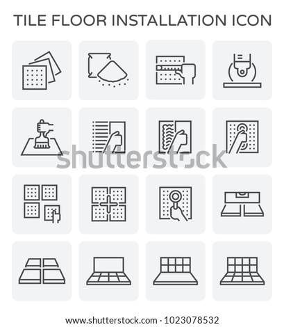 Tile floor installation and material icon set.
