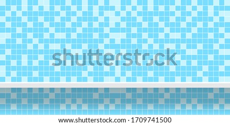 tile mosaic light blue pattern with shelf for background, modern square mosaic grid pattern for decoration architecture wall, mosaic tile wall and plank shelf, mosaic tiled grid of toilet wall, vector