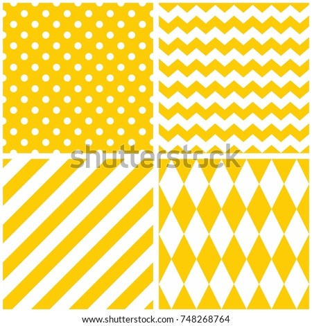 Tile vector pattern set with yellow and white background