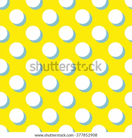 Tile vector pattern with white polka dots and mint green shadow on yellow background - stock vector