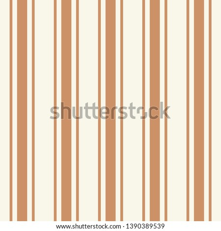 Tileable plain thin bright ocher color pinstripe template in artistic simple classic brown print style on beige fond. Repetition of modern motley bold strips. Close-up detail view with space for text