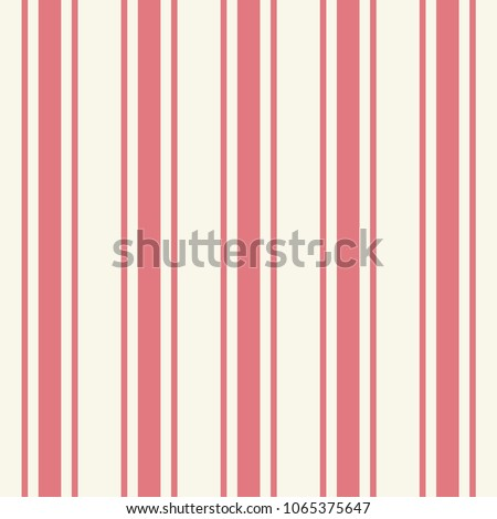 Tileable plain thin light pink color pinstripe template in artistic simple classic crimson print style on beige fond. Repetition of modern motley bold strips. Close-up detail view with space for text