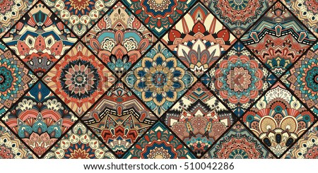 Tiles flower background. Colorful blue brown patchwork for fabric print, furniture, wallpaper, fashionable textile. Unusual floral pattern. Seamless design element. Decorative ornament luxury vector