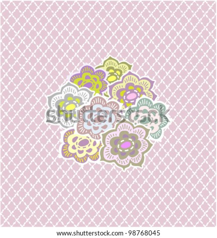 Tiling pattern with flowers.