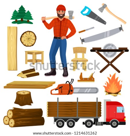 Timber vector lumberman character and logger saws lumber or hardwood set of wooden timbered materials in sawmill and lumberjack man isolated on white background