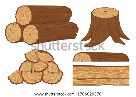 Timber wood trunk. Stacked firewood, logging tree trunks and pile of wood log, cracked oak or pine lumber. Wooden firewood logs. Hardwoods construction materials vector isolated set ストックフォト ©