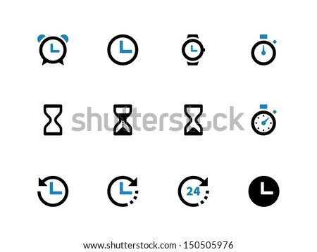 Time and Clock duotone icons on white background. Vector illustration.