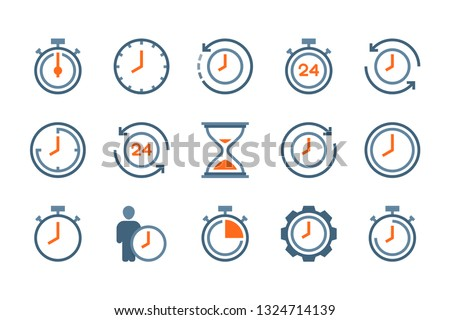 Time and clock flat icons. Alarm and timer vector colorful icon set. Hour and Date icon collection on white background.