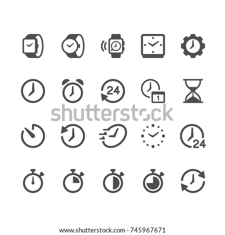 Time and clock glyph icons