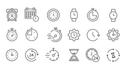 Time and clock icon set, timer, speed, alarm, restore, management, calendar, watch thin line symbols for web and mobile phone on white background - editable stroke vector illustration eps10