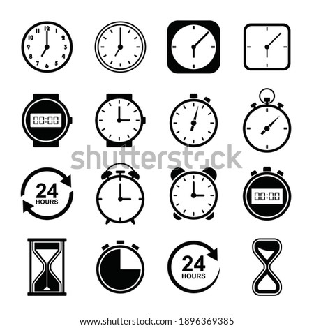 Time and clock icons. Clocks icon collection design. Vector linear icon set illustration.